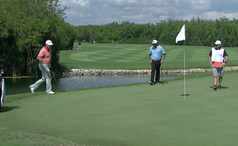 Graeme McDowell chips in at El Camaleon Golf Club in Mexico