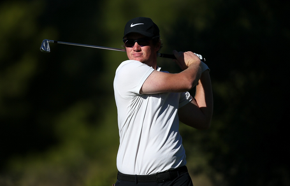 TARRAGONA, SPAIN - NOVEMBER 13: Sam Horsfield of England in action during round three of the European Tour Qualifying School Final Stage at Lumine Golf Club on November 13, 2017 in Tarragona, Spain. (Photo by Jan Kruger/Getty Images)