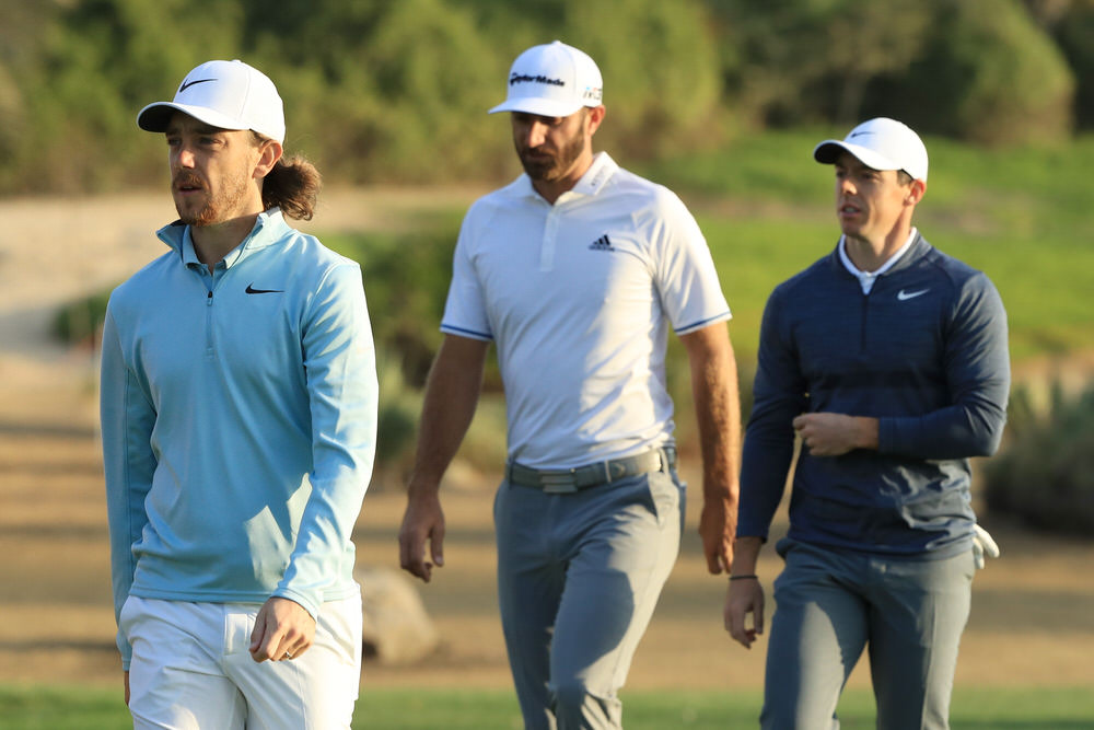 Tommy Fleetwood, Dustin Johnson and Rory McIlroy.Credit:Getty Images