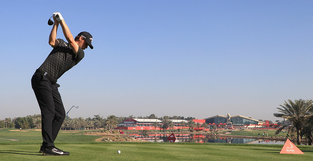 ABU DHABI, UNITED ARAB EMIRATES - JANUARY 19: Thomas Pieters of Belguim tees off on the 18th hole during day two of the Abu Dhabi HSBC Golf Championship. Photo by Matthew Lewis/Getty Images
