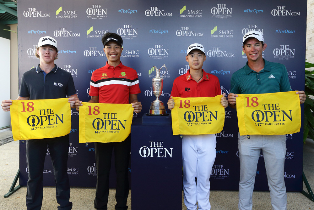 (L-R) Sean Crocker, Danthai Boonma, Jazz Janewattananond and Lucas Herbert qualify for The 147th Open at the SMBC Singapore Open.Credit The R&A/Getty Images