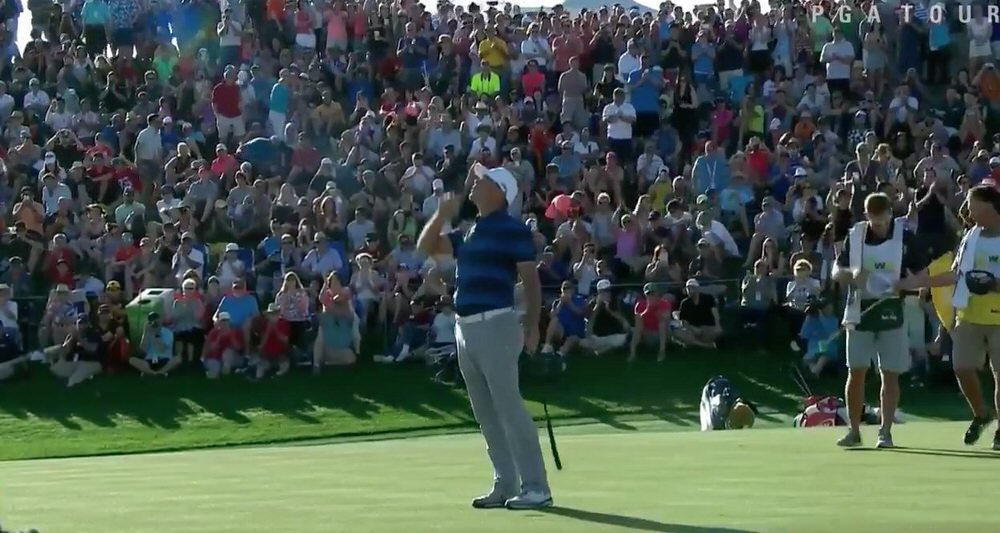 Gary Woodlands points skywards after his playoff win over Chez Reavie in the Waste Management Phoenix Open at TPC Scottsdale