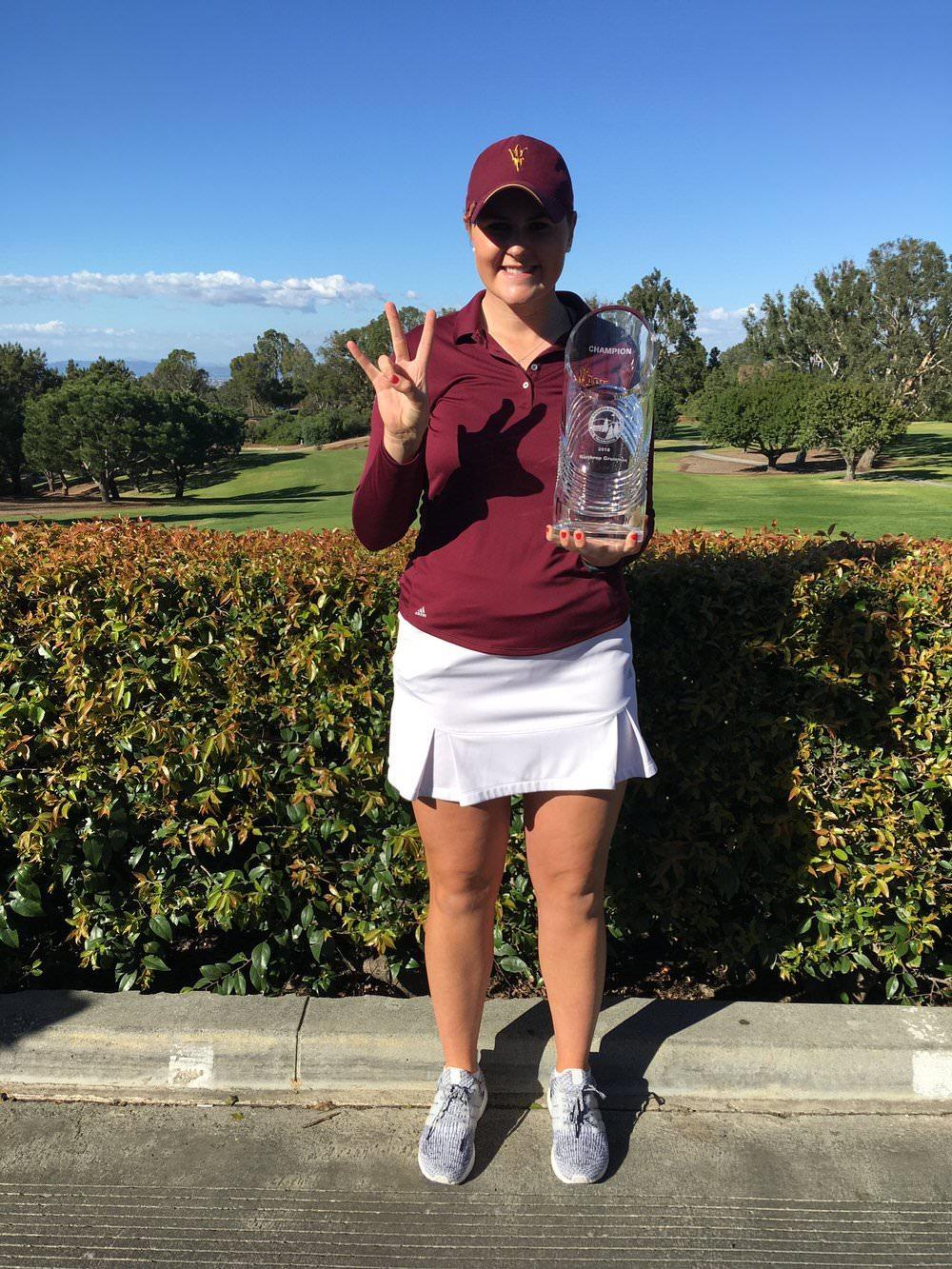 Olivia Mehaffey following her maiden US collegiate win in the