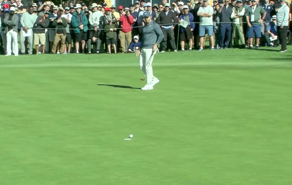 Rory McIlroy eagles the par-five first at Riviera Country Club