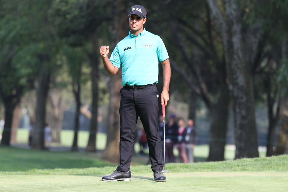 Shubhankar Sharma of India after sinking a birdie putt on the 18th hole to lead the World Golf Championships-Mexico Championship at Club de Golf Chapultepec on March 2, 2018. Photo by Rob Carr/Getty Images
