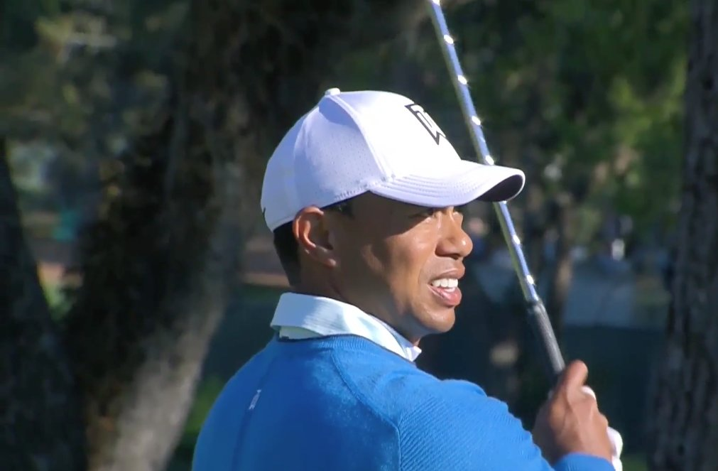 Tiger Woods in action in round two of the Valspar Championship in Tampa