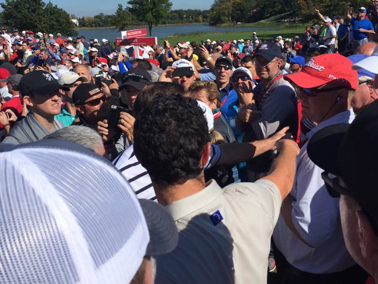 Rory McIlroy has a fan thrown out at the 2016 Ryder Cup. Twitter/ @cbrennansports
