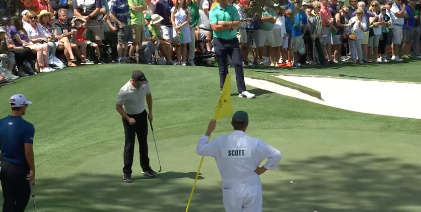 Rory McIlroy gives a little first pump of satisfaction after his par save at the seventh.