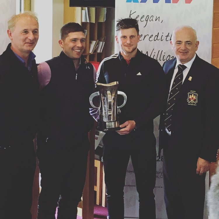 Sponsor John Williams (left) and Captain Jim Hegarty (right) present Donal Dunlop and Nils Conway and with the trophy following their win in the 2018 Dublin Scratch Foursomes, Sponsored by Keegan, Meredith & Williams Insurances,at Grange.