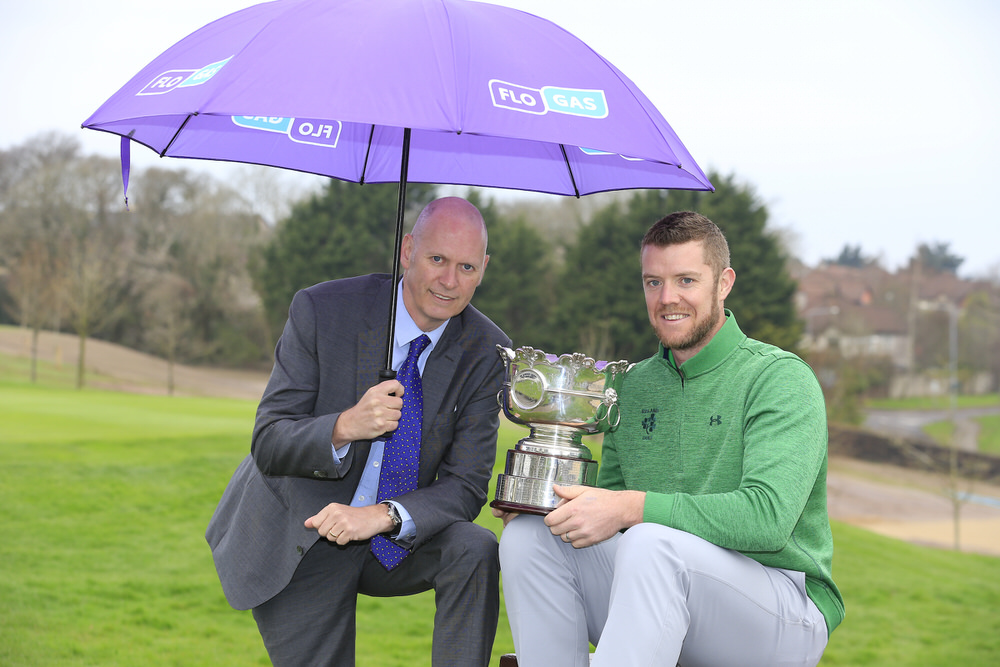 Defending champion Peter O'Keeffe (Douglas) with John Rooney, Managing Director of Flogas Ireland, ahead of the Flogas Irish Amateur Open which takes place at Royal County Down Golf Club from 17-20 May 2018 Picture: Golffile