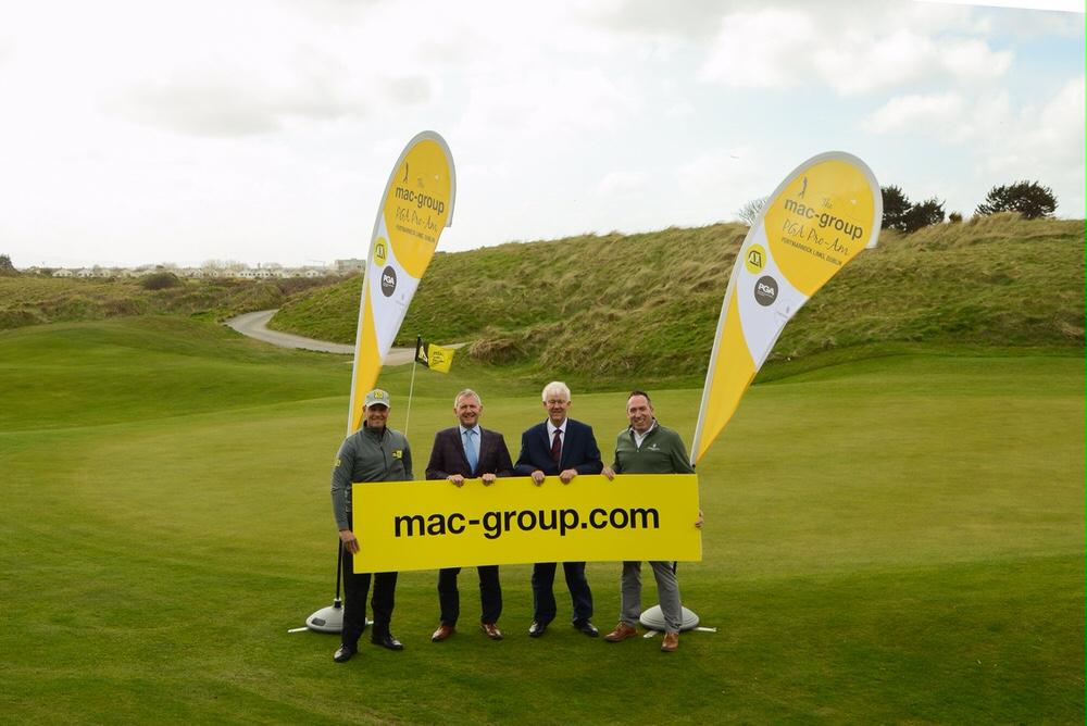 David Higgins, PGA Professional and brand ambassador for mac-group, Paul McKenna, Group CEO of mac-group, Michael McCumiskey, Regional Secretary, PGA in Ireland, Conor Russell, Head PGA Professional, Portmarnock Links.