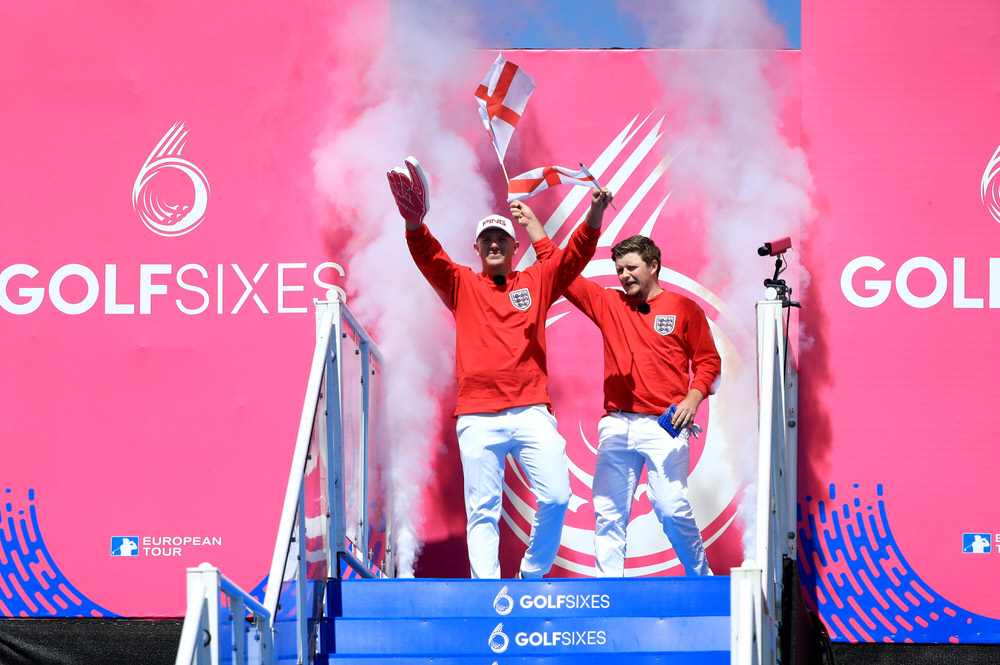 Matt Wallace of England and Eddie Pepperell of England walk out on Day One of the GolfSixes at The Centurion Club on May 5, 2018 in St Albans, England. Photo by Andrew Redington/Getty Images