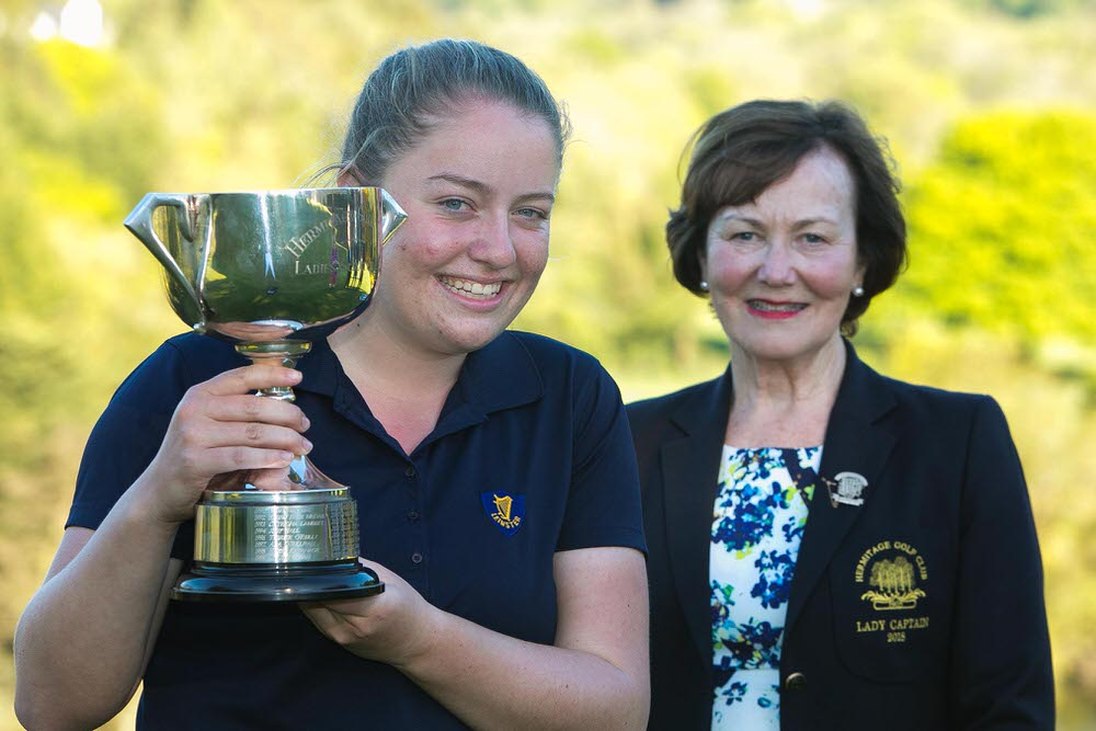 Elm Park's Anna Foster with Hermitage Lady Captain Christina McGillicuddy following her win in the Hermitage Ladies Scratch Cup. Picture: Orla Murray/ SON Photo