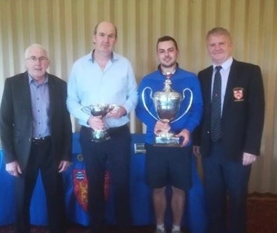 L-R Mick Coughlan (sponsor), Birr Junior and Senior Scratch Cup winners Laurence Smith and Davey Reddan and Captain. Paschal Troy