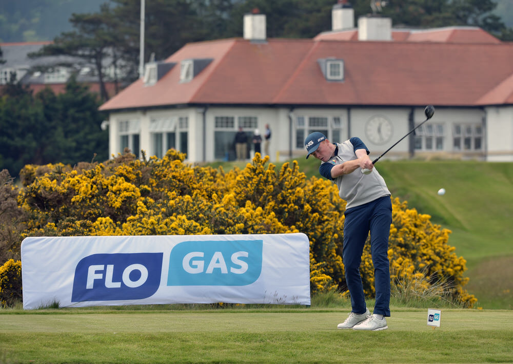 Robin Dawson (Tramore) driving at the 11th tee during day two of the Flogas Irish Amateur Open Championship at Royal County Down Golf Club. Picture by  Pat Cashman