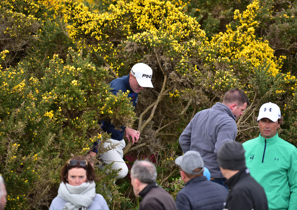 Robin Dawson (Tramore) in trouble at the 15th hole during the final day. Picture by  Pat Cashman