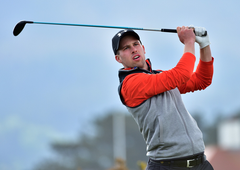 Alex Gleeson (Castle) driving at the 11th tee during the final day of the Flogas Irish Amateur Open Championship at Royal County Down. Picture by  Pat Cashman