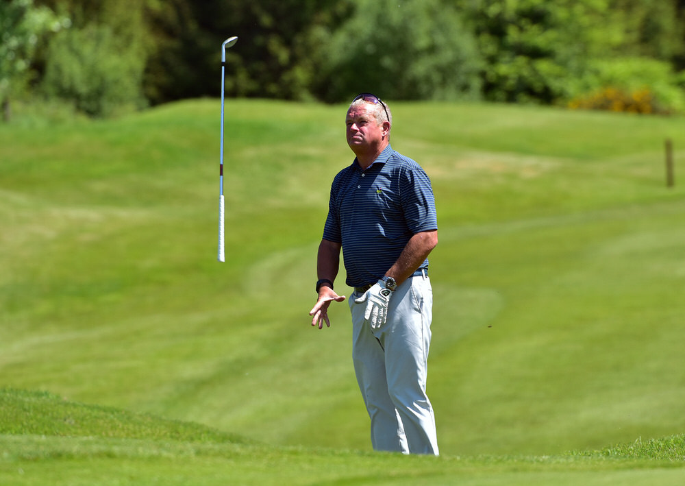 Winner Trevor Foster (England) reacts to a bad chip at the 18th green during the final round of the Irish Seniors Amateur Open Championship at Concra Wood Golf Club. Picture by  Pat Cashman