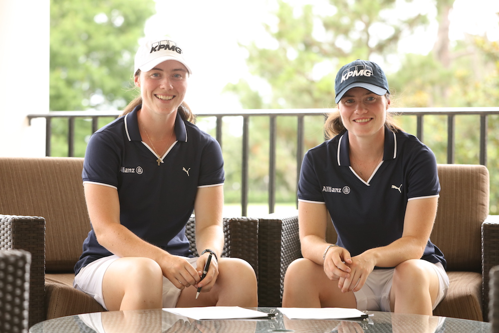 Lisa (left) and Leona Maguire sign up with KPMG