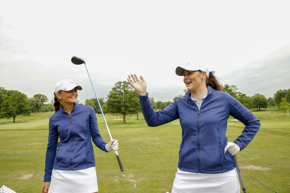 Sophie Lamb, left, with Olivia Mehaffey, right during a practice round ahead of the 2018 Curtis Cup at Quaker Ridge Golf Club in Scarsdale, N.Y. on Thursday, June 7, 2018. (Copyright USGA/Steven Gibbons)