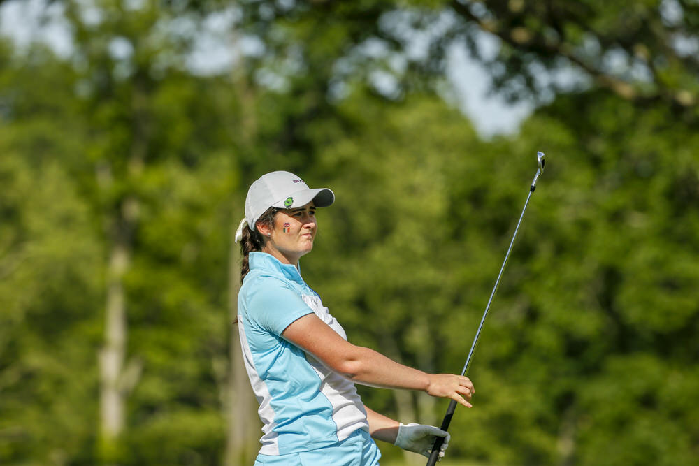 Paula Grant watching her second shot at the fourth hole during Afternoon Foursome Matches at the 2018 Curtis Cup at Quaker Ridge Golf Club in Scarsdale, N.Y. on Saturday, June 9, 2018. (Copyright USGA/Steven Gibbons)