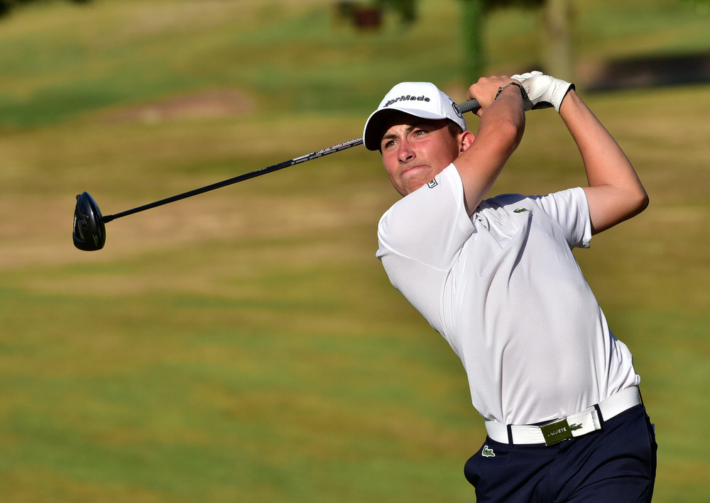 Theo Boulet (France) driving at the 15th tee during the second round of the 2018 Irish Boys Amateur Open Championship at Belvoir Park Golf Club. Picture by  Pat Cashman