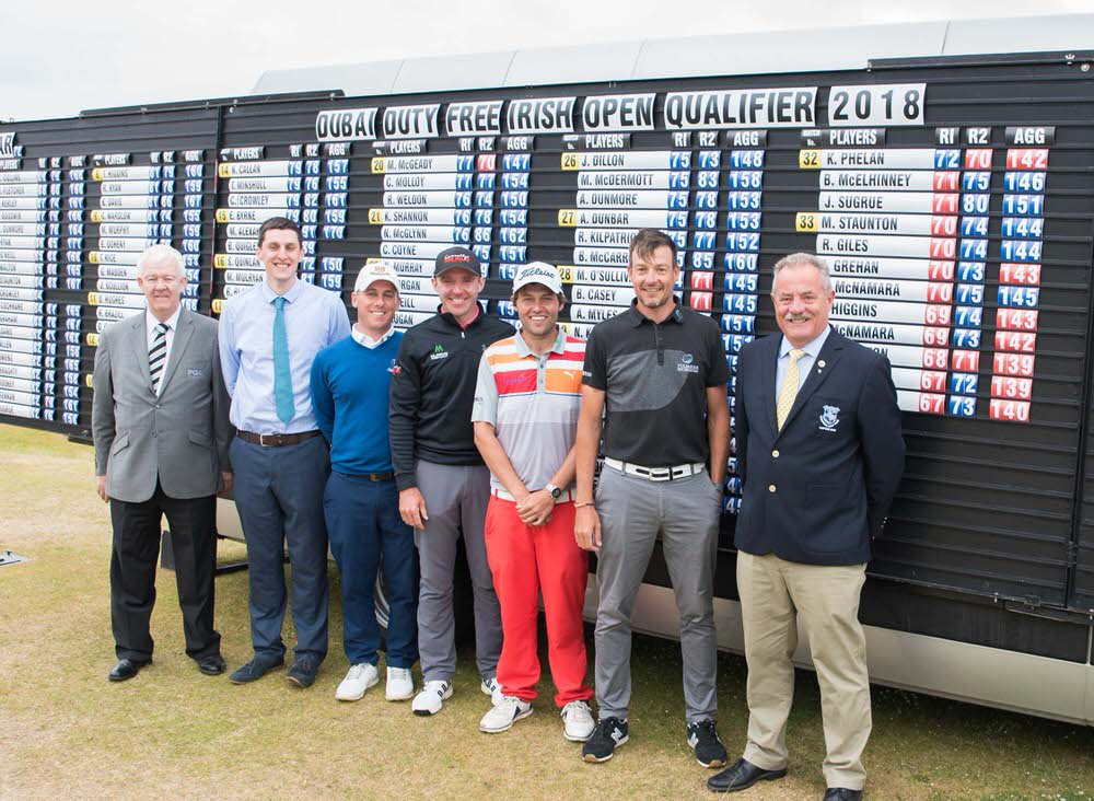 Michael McCumiskey (PGA in Ireland Regional Manager), ohn Casey (Director, Rosapenna Hotel & Golf Resort), Cian McNamara (Monkstown GC), Colm Moriarty (Glasson Hotel), Simon Thornton (Tulfarris Golf Resort), Neil O'Briain (Old Conna) and Liam Breen (Captain, Rosapenna GC) Picture  Martin Fleming Photography