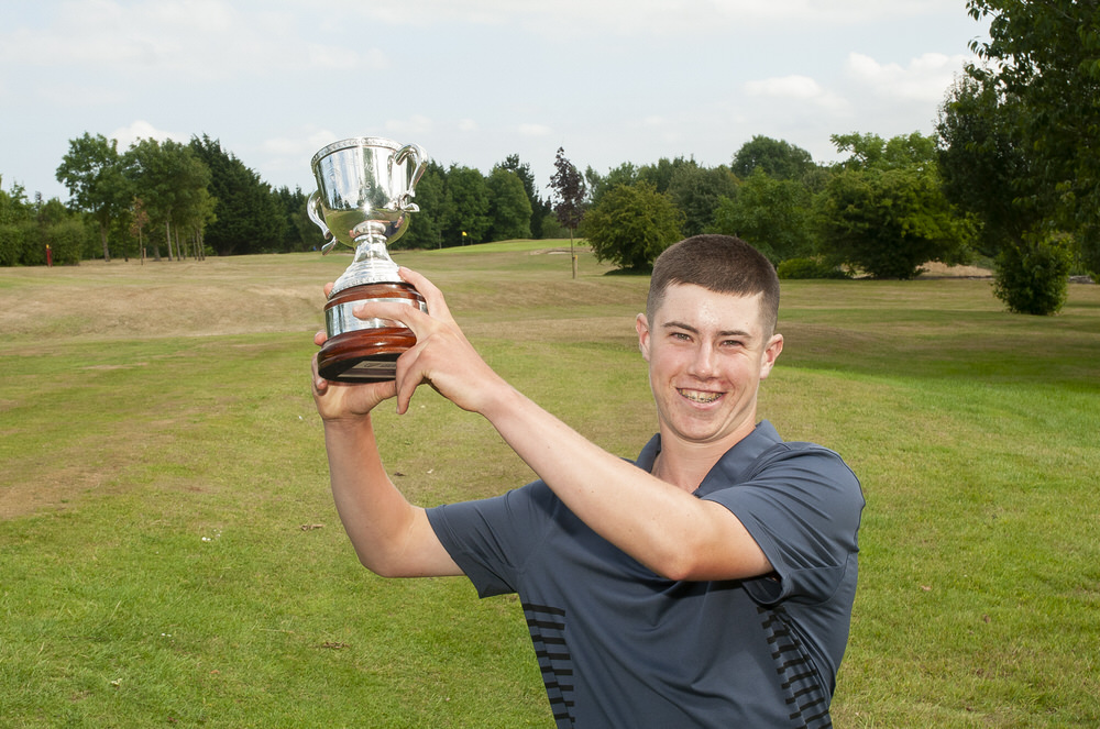 Eoin Freeman hoists the Leinster U16 Close trophy at Ashbourne. Picture: Ronan Quinlan