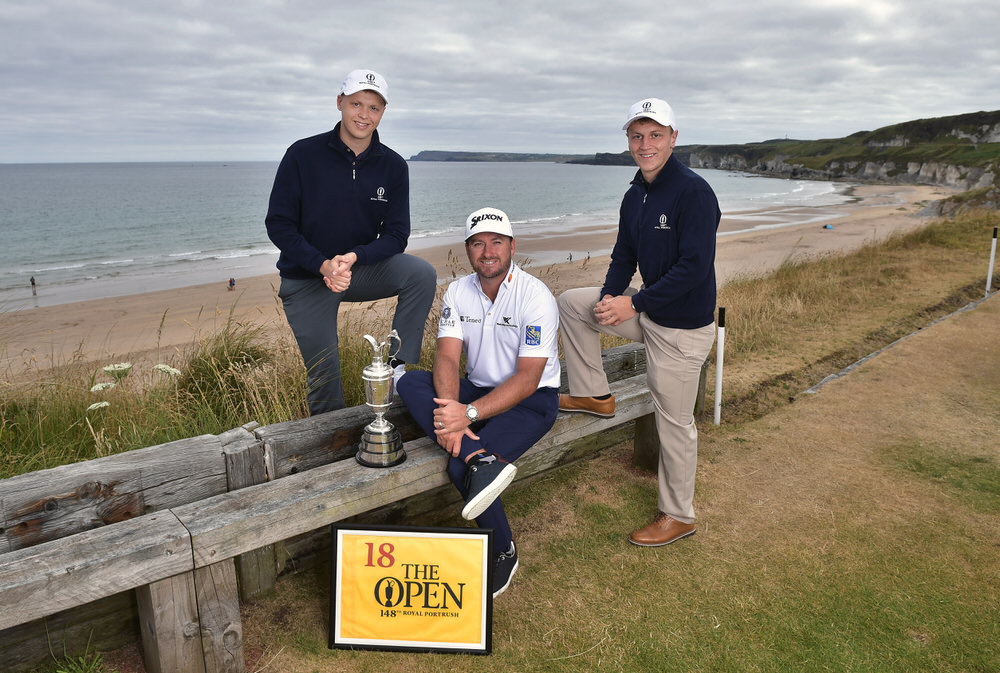 PORTRUSH, NORTHERN IRELAND - JULY 09: Graeme McDowell, Major Champion and Mastercard Global Ambassador, returned to Royal Portrush Golf Club along with Conor Clarke (L) and Callum Beggs (R) to mark the going on sale of the first tickets to The 148th Open which will be held at the famous links from 14-21 July 2019 on July 9, 2018 in Portrush, Northern Ireland. Tickets are on sale through The One Club which is a free to join membership programme. Visit TheOpen.com/PortrushTickets for more information and save £5 on your order when paying with a Mastercard. (Photo by Charles McQuillan/R&A/R&A via Getty Images)