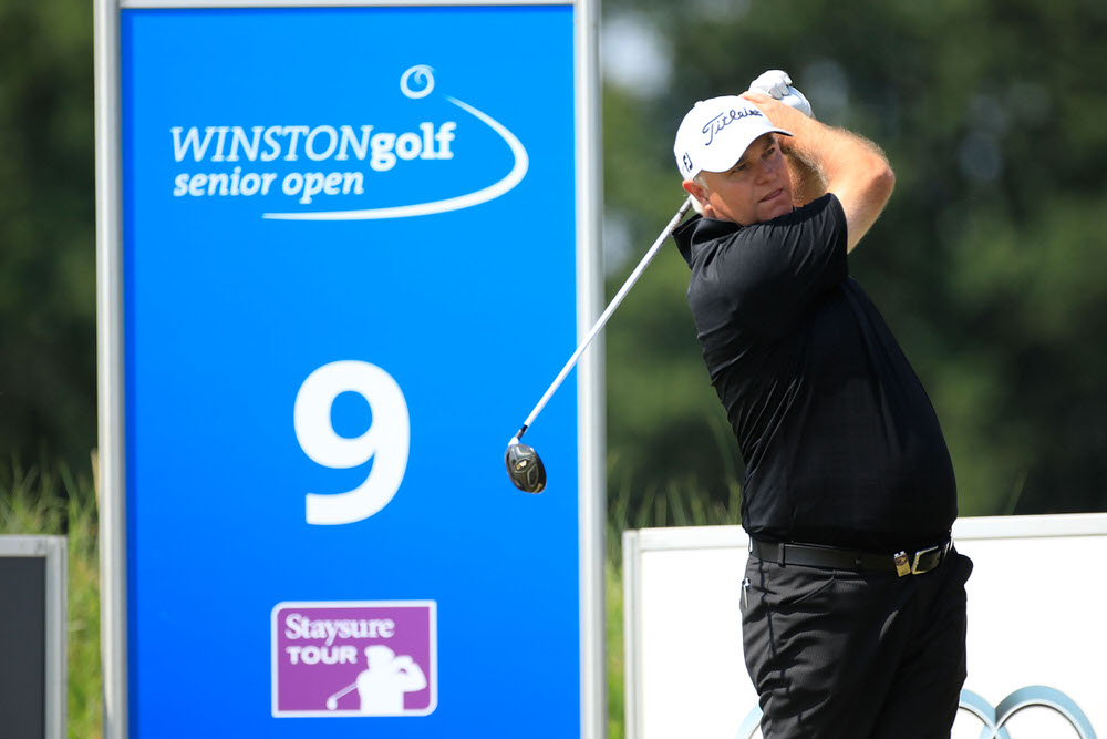 SCHWERIN, GERMANY - JULY 13:  Stephen Dodd of Wales in action during Day One of the WINSTONgolf Senior Open at WINSTONlinks on July 13, 2018 in Schwerin, Germany.  (Photo by Phil Inglis/Getty Images)