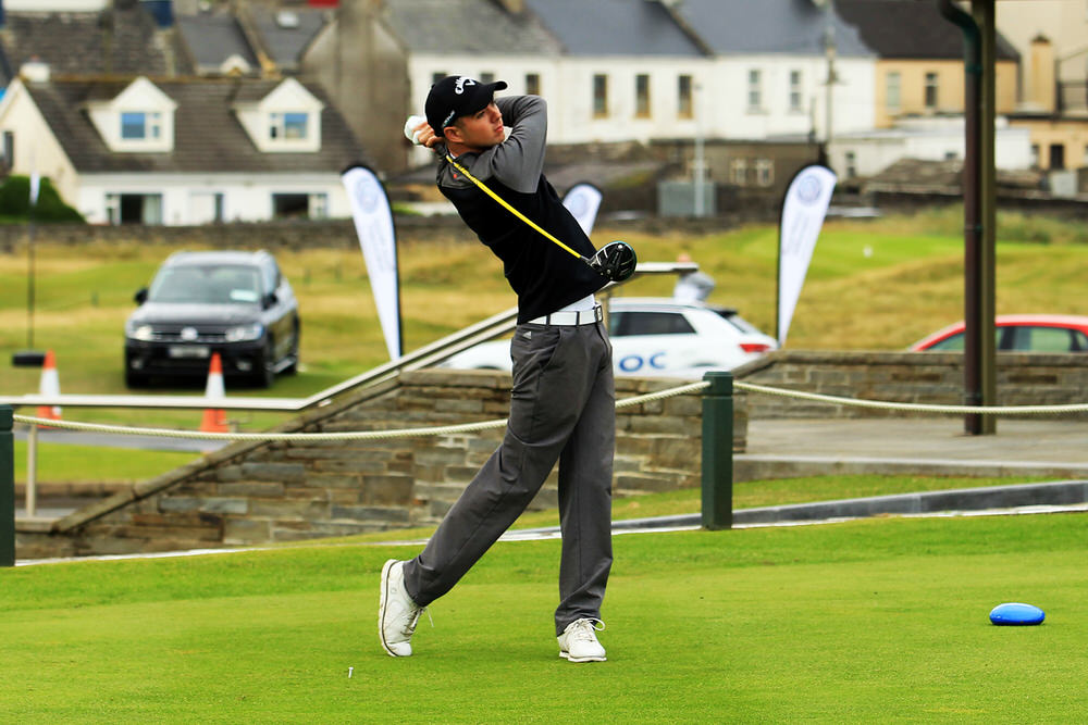 Reece Black (Hilton Templepatrick) teeing of in the third round of the South of Ireland Championship at Lahinch.  Saturday 28th July 2018.
