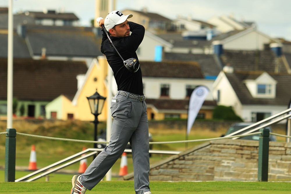 Keith Egan (Carton House) teeing of in the third round of the South of Ireland Championship at Lahinch.  Saturday 28th July 2018.Picture: Niall O'Shea