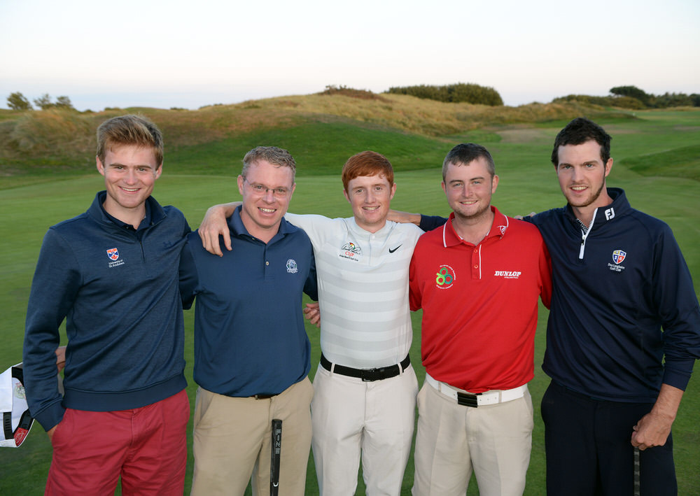 Leading qualifer Ronan Mullarney (Galway) with the playoff qualifers (from left) Peter Kerr (Royal Portrush), Thomas Neenan (Lahinch), Owen Crooks (Bushfoot) and Keith Murphy (Dun Laoghaire) at the second day of the AIG 2018 Irish Amateur Close Championship at The European Club.Picture by  Pat Cashman