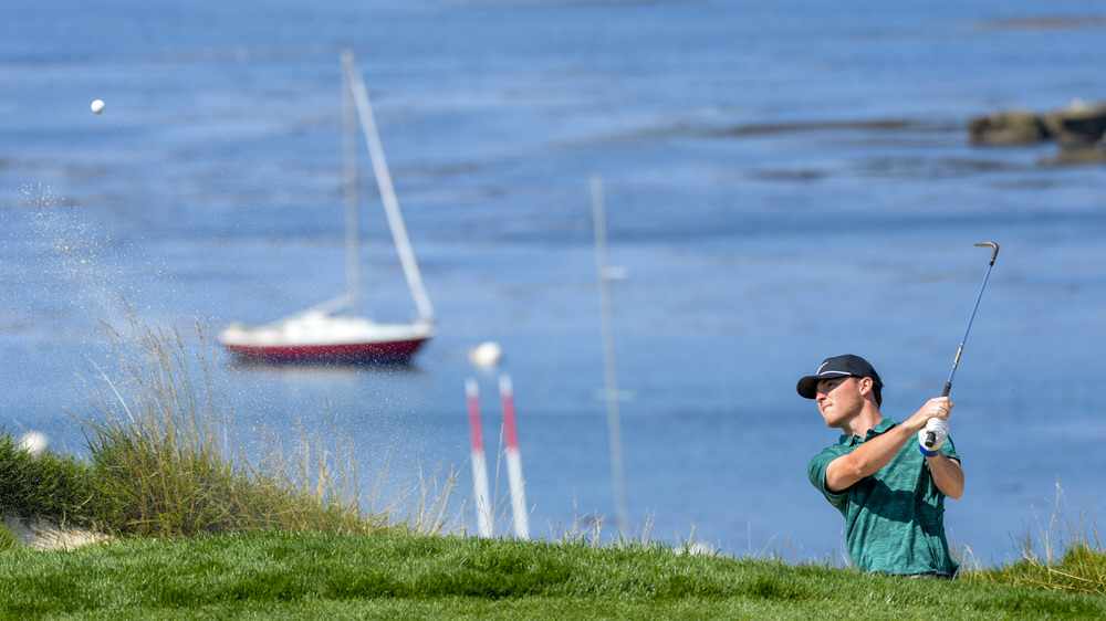 revor Phillips plays to the fourth green during the round of 64 at the 2018 U.S. Amateur at Pebble Beach Golf Links in Pebble Beach, Calif. on Wednesday, Aug. 15, 2018. (Copyright USGA/JD Cuban)