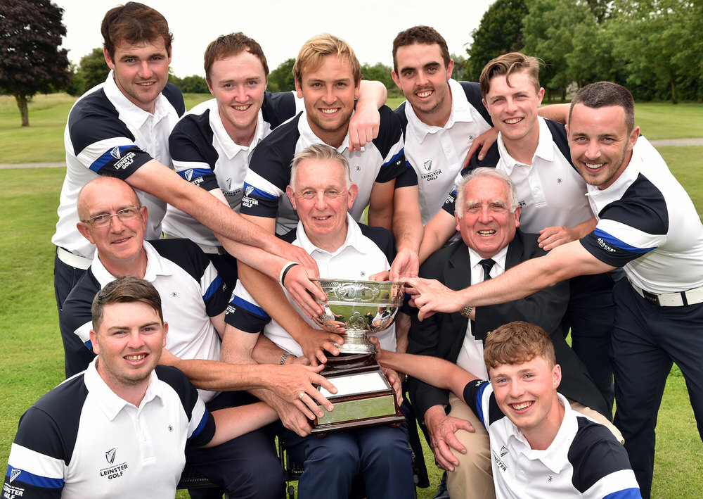 Seamus McParland (Team Captain) with the 2017 Interprovincial trophy after Leinster victory at Carlow Golf Club. Also in the picture centre John Cullen (Team Manager) and John Ferriter (Chairman, Leinster Golf, GUI). Team members Caolan Rafferty, Jake Whelan, Eugene Smith, Jonathan Yates, Alan Lowry, Conor Purcell, Daniel Holland and Mark Power. Picture by  Pat Cashman