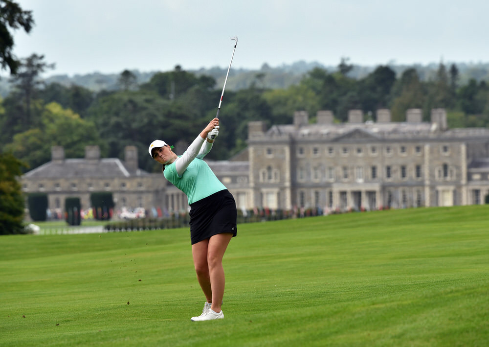 Olivia Mehaffey (Ireland) plays her second shot to the 12th green in the second round of the 2018 World Amateur Team Championship (Esprito Santo Trophy) at Carton House Golf Resort, Maynooth, Co Kildare/Picture: Pat Cashman