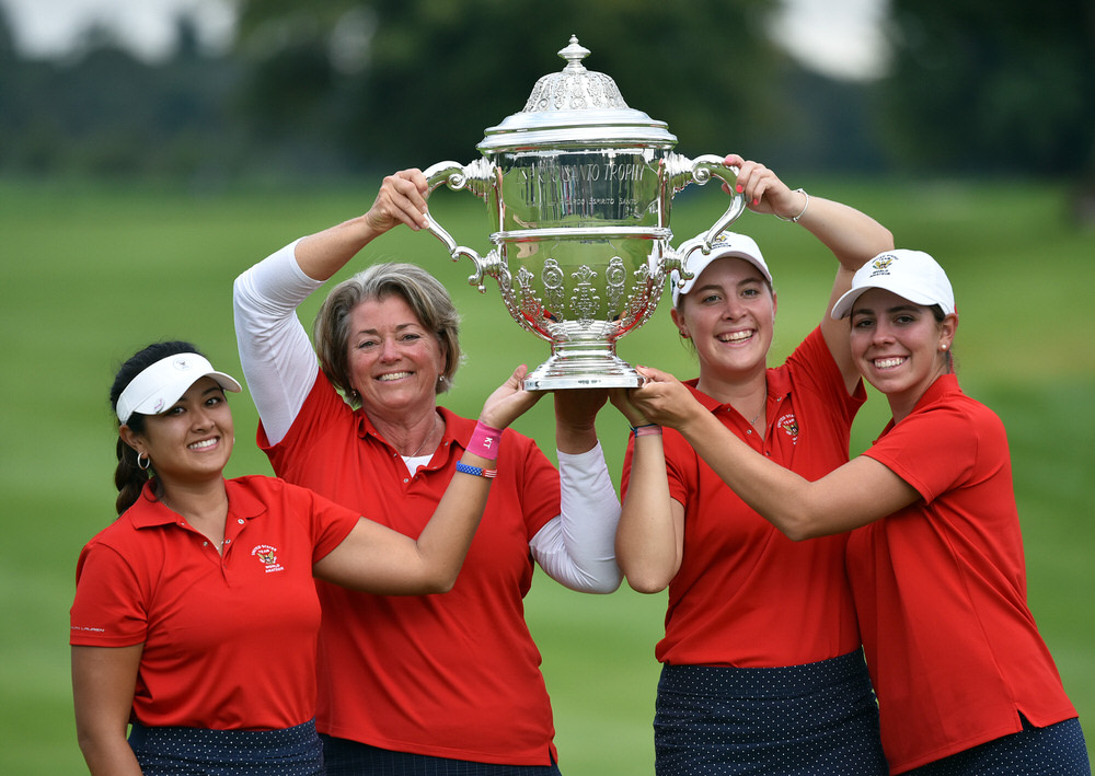 Winning USA team (from left) Lilia Vu, Stasia Collins (Team Captain), Jennifer Kupcho and Kristen Gillman at the 2018 World Amateur Team Championship (Espirito Santo Trophy) at Carton House Golf Resort, Maynooth, Co Kildare today (01/09/2018). Picture by  Pat Cashman