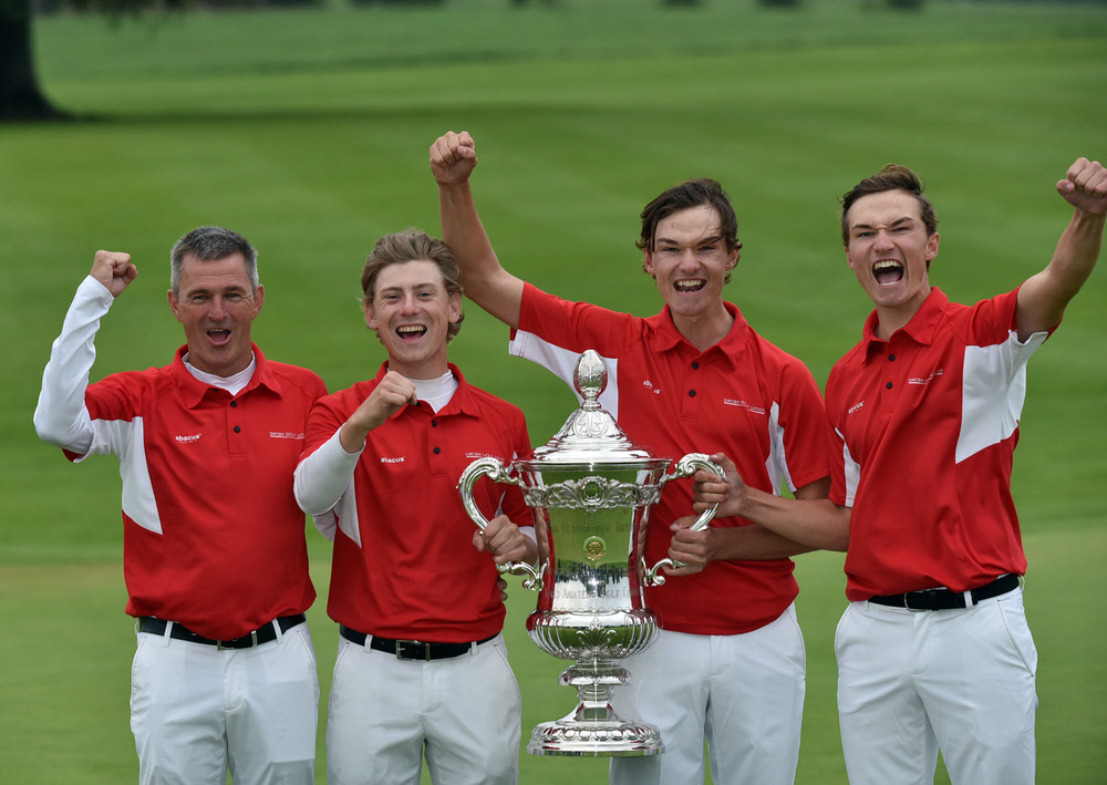 Denmark team (from left) Torben Henriksen Nyehuus (Team Captain), John Axelsen, Nicolai Hojgaard and Rasmus Hojgaard winners of the 2018 World Amateur Team Championship ( Eisenhower Trophy) at Carton House Golf Resort, Maynooth, Co Kildare today (08/09/2018). Picture by Pat Cashman