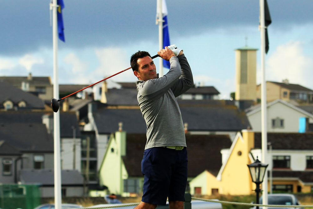 Gary O'Flaherty (Cork) tees off in the third round of the South of Ireland Championship at Lahinch on 28 July, 2018. Picture © Niall O'Shea