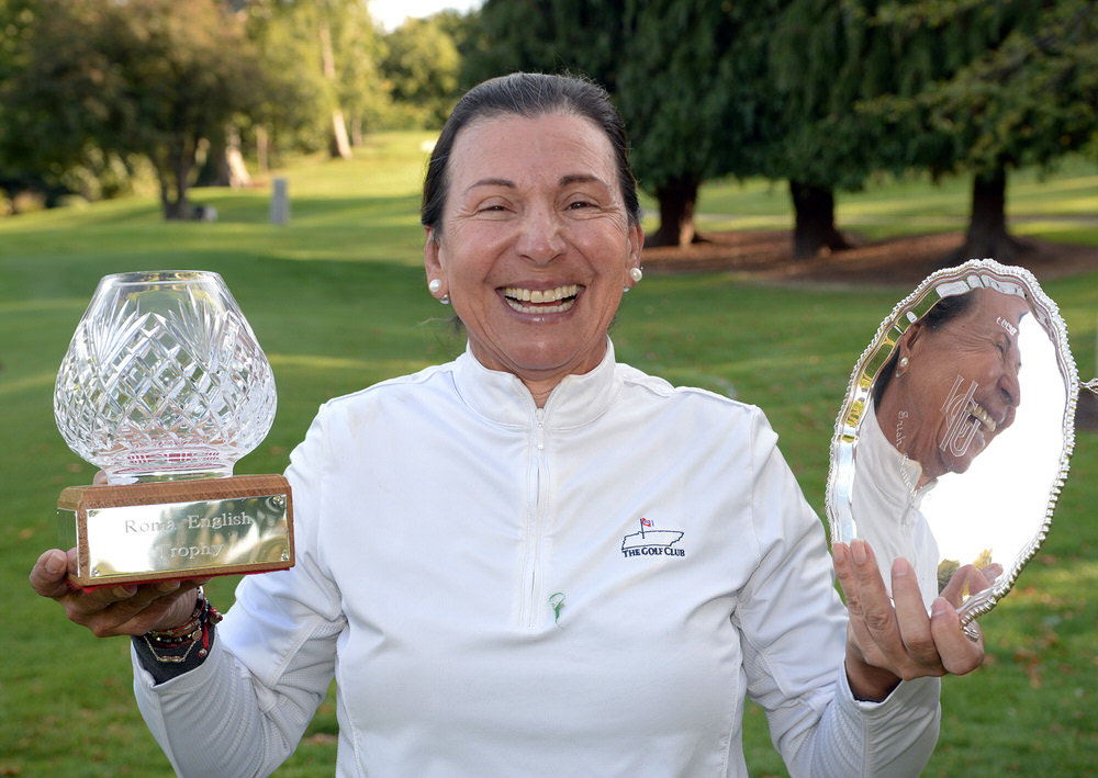 Beatriz Arenas (Guatemala) winner of the 2018 Irish Seniors Women's Open Strokeplay Championship trophy and the best over 60's (Roma English Trophy) at Grange Golf Club. Picture by  Pat Cashman
