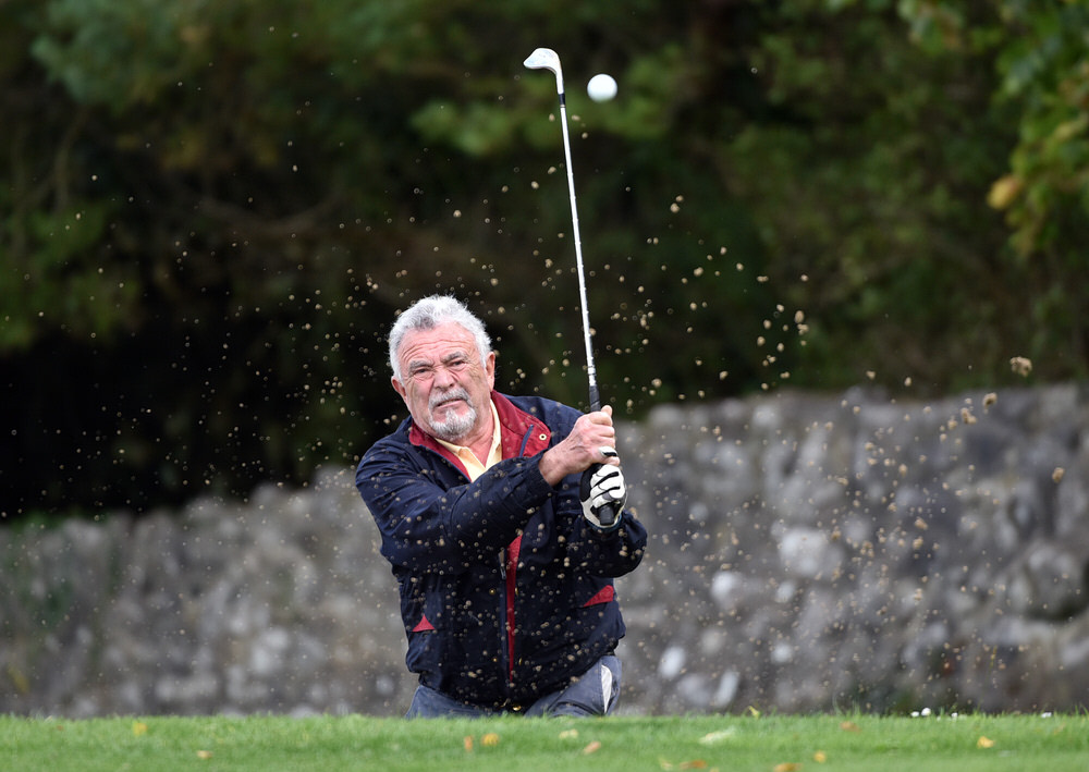 Billy Burke (Nenagh) bunkered at the 16th green during the 2018 GUI All Ireland Fourball Final at Limerick Golf Club today (16/09/2018). Picture by  Pat Cashman