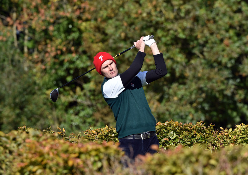 James Fox (Portmarnock) driving at the 15th tee in the semi final of the Senior Cup at the 2018 AIG Cups and Shields Finals at Thurles Golf Club today. Picture by  Pat Cashman