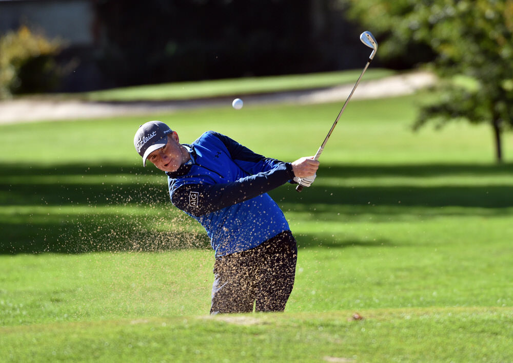 Ronan Mullarney (Galway) bunkered at the 14th green in the semi final of the Senior Cup at the 2018 AIG Cups and Shields Finals at Thurles Golf Club. Picture by  Pat Cashman