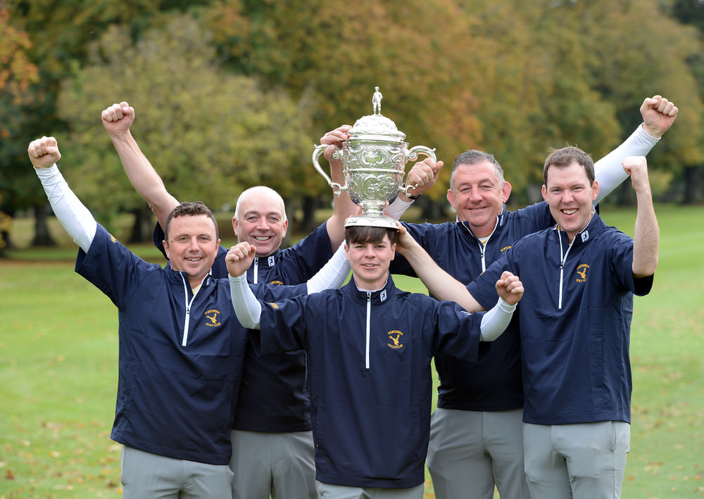 Portumna Golf Club (from left) Michael Flanagan, Ger Lynch, Sam Murphy, Eamonn Devan and Damien Burke winners of theJunior Cup at the 2018 AIG Cups and Shields Finals at Thurles Golf Club. Picture by  Pat Cashman