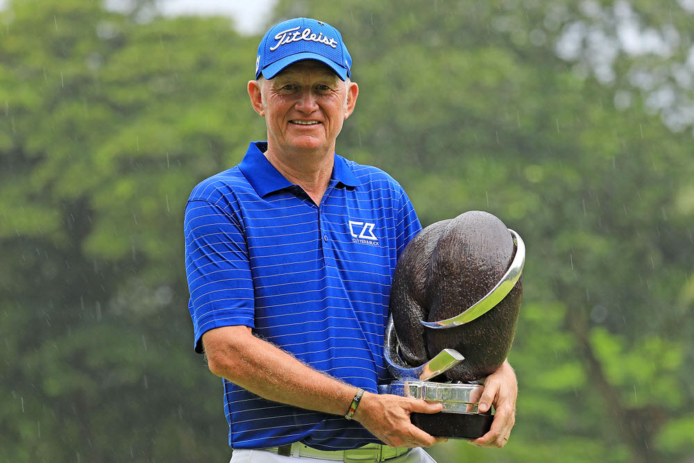 Roger Chapman with the MCB Tour Championship – Seychelles trophy. Picture: Getty Images