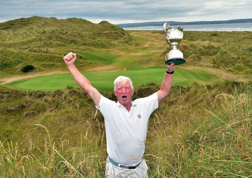 Winner Maurice Kelly (Naas) celebrating his six-stroke triumph in the 2018 Irish Seniors Amateur Close Championship at Enniscrone Golf Club today (06/07/2018). Picture by  Pat Cashman