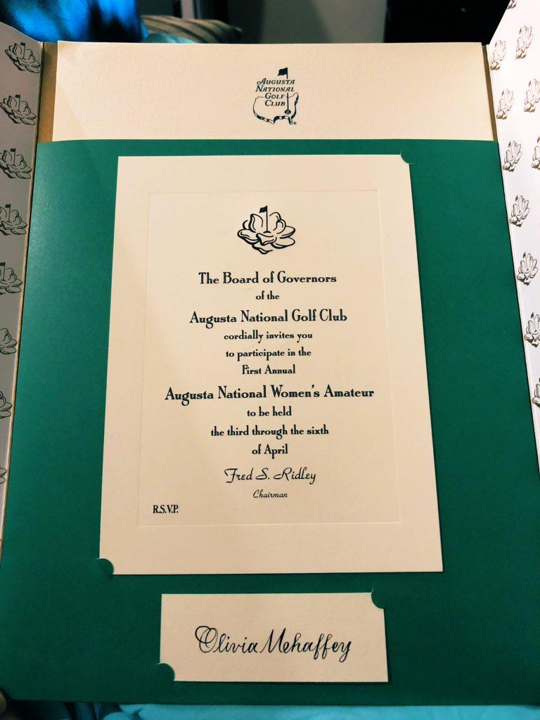 Olivia Mehaffey's invitation for the inaugural Augusta National Women's Amateur Championship
