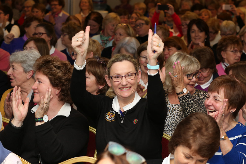 Shelly Bennett, (Dromoland) celebrates the result of the Golf Ireland Vote at the ILGU AGM on Saturday. Photo: Jenny Matthews)