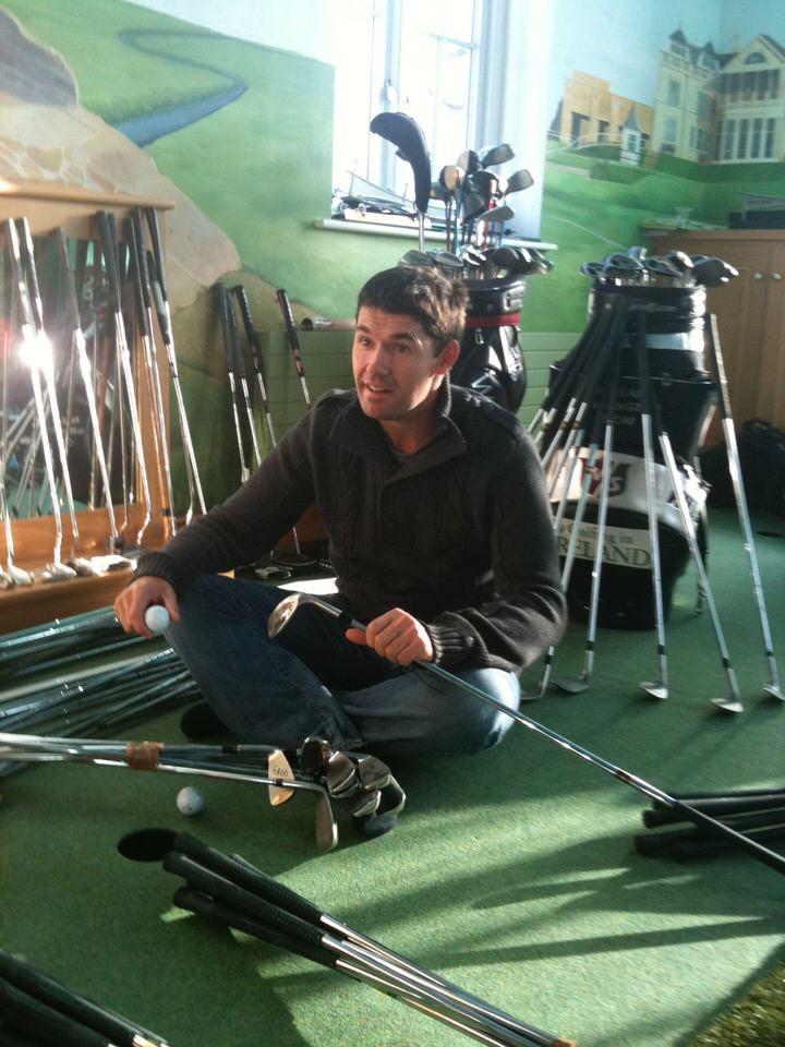 Pádraig Harrington in his home practice dungeon