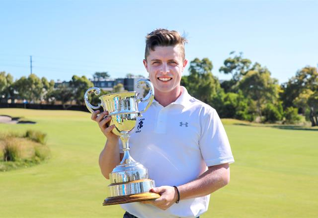 Conor Purcell shows off the Australian Amateur Championship